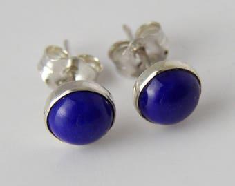 Genuine Lapis Lazuli 6mm round Bezel Set Sterling Silver stud earrings