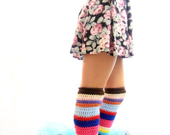 Leg Warmers - Women's Thigh High Leggings in Colorful Stripes - Over the Knee Leg Warmers - Striped Leggings