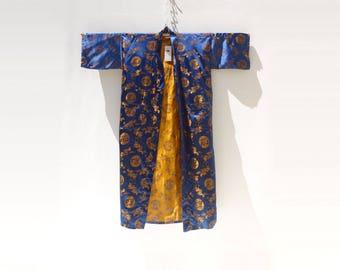 Vintage Silk Kimono Sapphire Blue Kimono Chinese Kimono Deadstock Kimono NOS Vintage Kimono Amber Gold Robe 1980s Kimono Jacket s, m