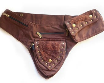 Canvas Utility Belt   Brown Lace, 5 pockets   travel, cosplay, festival   Fits iPhone