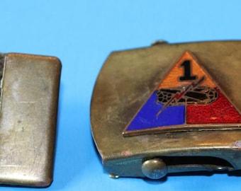 Vintage Military Webbed Belt with Brass buckle and Emblem