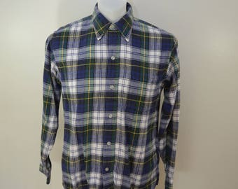 Vintage LL BEAN plaid cotton flannel shirt Size Medium 80's
