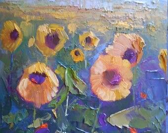 "Sunflower Painting, Field of Sunflowers, Small Oil Painting, Flower Painting, 6x8"" Original Painting"