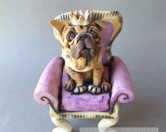 English Bulldog on a Throne Sculpture