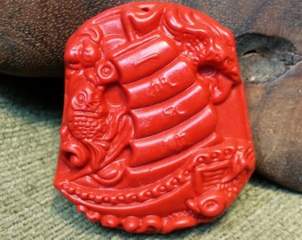 Tall Sailing Ship carved in Red Synthetic Cinnabar