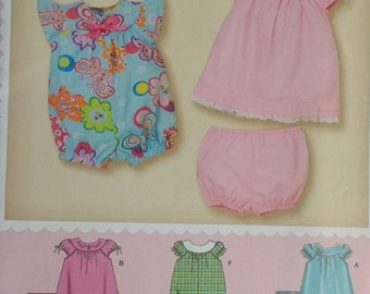 Baby Romper Dress and Panties Simply Baby Simplicity 3509 Babies Dress Panties and Romper Pattern Size Newborn to Large
