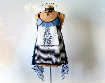 Indigo Blue Boho Tank Top Art To Wear Recycled Clothing Gypsy Women's Shirt Funky Unique Layered Lagenlook Striped Draped Top S M 'STEPHANIE
