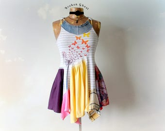 Bohemian Tank Women's Summer Top Upcycled Shirt Lagenlook Clothing Colorful Pastels Mori Girl Unique Clothes Reconstruct Shirt XS S 'SYBIL'