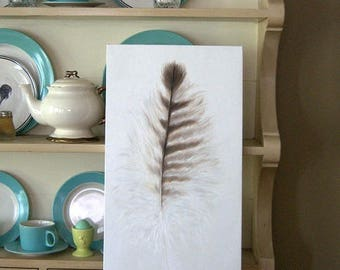 Owl Feather Study LARGE Painting in OIL by LARA 12x24 Bird Woodland Farmhouse