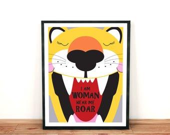 the lioness print - I am woman hear me roar - feminist print, feminism, roaring cat, cat print, art for women, inspirating prints for women