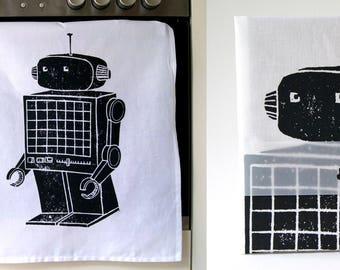 GIANT ROBOT Hand printed tea towel