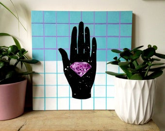 Quartz Crystal in Space Hand geometric gem Oil Painting on wooden block