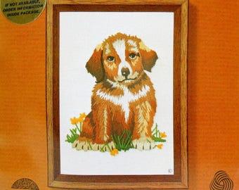 "1979 Vintage JIFFY Kit ""RUSTY,"" Crewel Stitchery, Wool Yarn, Easy DIY Craft,"