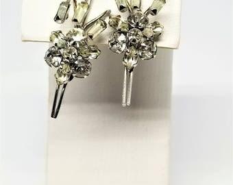 Phyllis Sterling Silver Earrings Vintage Rhinestone Screw Back