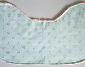 Baby Burp Cloth - Metallic Gold and Mint Green Bows on Coral Pink Peach Minky, Contoured Burp Cloth Burpie
