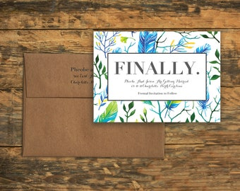 Bold Blue Feathers - Save the Date, Wedding, Marriage