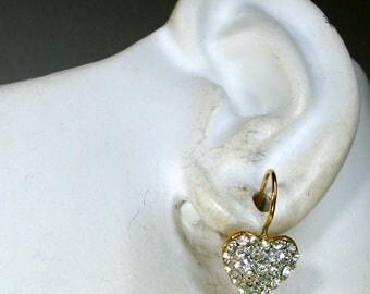 Tiny Rhinestone HEART Earring , Pierced Gold Lever Backs, 1980s