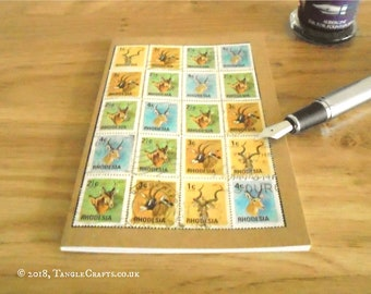 Wildlife Notebook, Rhodesia Postage Stamp Travel Journal