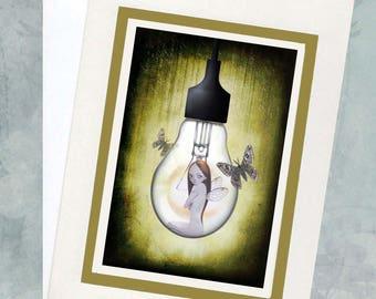 Fairy Greeting Card - Faery Greeting Card - Lightbulb Fairy - Shine