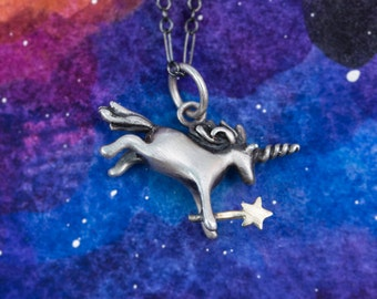 Even More Magical Unicorn Pendant, Hand Sculpted in Sterling Silver or Bronze to Gracefully Grace Your Neck