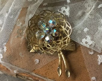 Enchanting AB Crystal Bead Gold Tone Open Work Lacy Nest Brooch Pin Unsigned 1950's 1960's Sweet Doily Like Round Twigs Nature Inspired