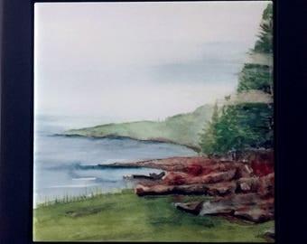 Black Wooden Framed 'Coast of Maine' Tile