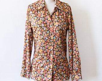 1970s floral blouse, vintage 70s disco shirt, 1970s autumn flower print button up shirt, medium m