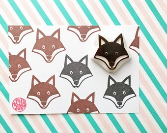 fox rubber stamp | woodland animal stamp | diy baby shower birthday card making | craft gift for kids | hand carved by talktothesun