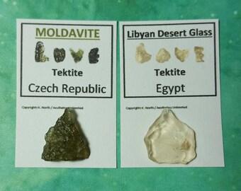 MOLDAVITE And LIBYAN Desert Glass 2 (Smaller Size) Tektkte Meteorite Impact Glass Tektites From Czech Republic And Egypt