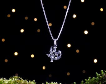 Sterling Silver Scottish Thistle - Small, 3D Double Sided - (Charm, Necklace, or Earrings)