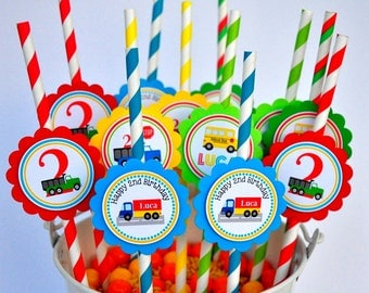 Transportation Paper Straws, Personalized Party Straws, Transportation Birthday Party - Set of 12 Straws