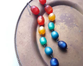 birthday party earrings - vintage lucite and sterling - moonglow rainbow shoulder duster long earrings