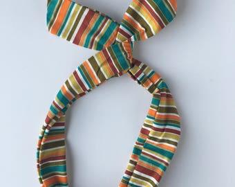 Striped Headband, Hidden wire headband, dolly bow, Hair band, fabric hair clip, head scarf, striped hair bow, head wrap, boho hair accessory