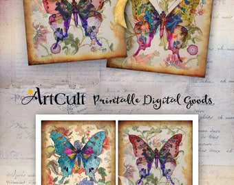 Printable download BUTTERFLY KISS 3.8x3.8 inch size Images Digital Collage Sheet for Coasters Greeting cards Magnets Gift tags Paper craft