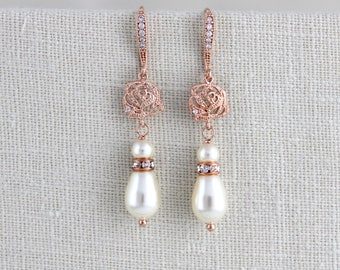Rose Gold Wedding earrings, Rose Gold Pearl earrings, Bridal earrings, Bridesmaid earrings, Wedding jewelry, Crystal Dangle earrings