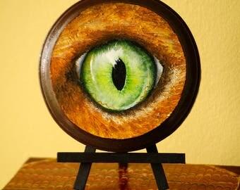 Ginger Orange Cat Green Eye Original Acrylic Painting on Mini Wood Plaque