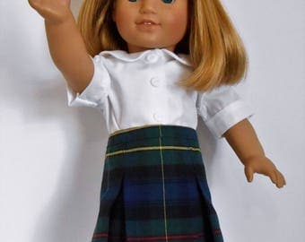 "Navy blue plaid school uniform skirt with white blouse fits 18"" dolls like American Girl"