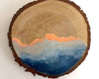 Artifacts of Joy - Ocean Artifact - Painting on Wood - Wood slice - Abstract art