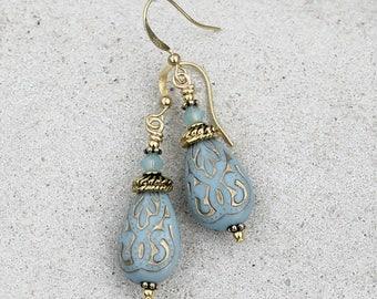 Blue Drop Earrings, Bohemian, Antique Gold, Lightweight