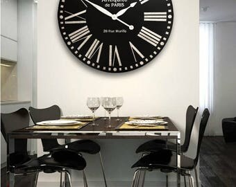 30in LARGE CLOCK, Black clock, Large Wall Clock, Big clock, Custom clock, Clocks, Handpainted Clock, Designer clock, Modern clock