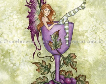 5x7 Wine Fae fairy PRINT by Amy Brown