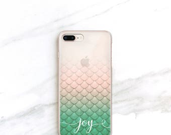 Personalized Mermaid iPhone X Case Clear iPhone 8 Plus Case Custom Phone Case iPhone 7 Fairytale Gift iPhone 6S, Mermaid Gift for Her