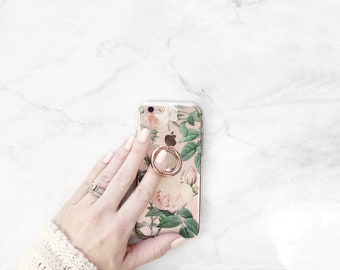 Floral Clear Case and Phone Ring Holder Stand Rose Pattern iPhone Case Grip Samsung Galaxy