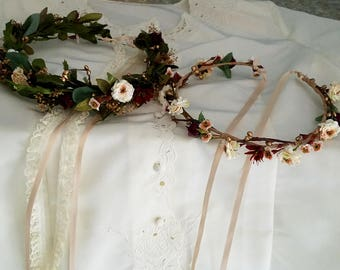 Burgundy leafy flower crown set of 2 greenery hair wreaths Bride and little girl halo gold blush winter Christmas wedding accessories prop