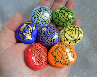 Chakra Meditation Stone Sets - Small Size - Hand Painted - Full Coverage - Violet Crown