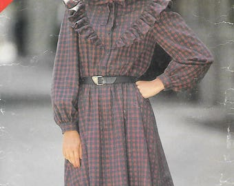 Misses 14-16 See & Sew Butterick 5207 1980s Prairie Dress Vintage Sewing Pattern Western Ruffles Square Dance