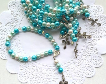 Mini Rosary, cross rosary, baptism gift, communion gift, ONE rosary.