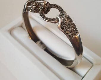 Vintage Art Deco Sterling Silver and Marcasite Bat Bangle Bracelet