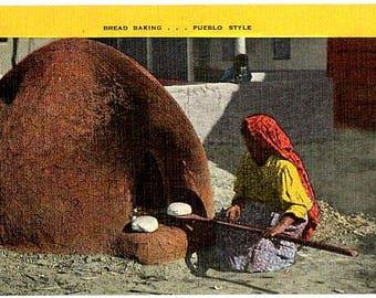 Native American Vintage Postcard - A Pueblo Woman baking Bread (Unused)