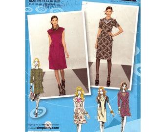 Womens Dress Pattern Simplicity 2282 Peplum Dress Above Knee Project Runway Womens Size 12 to 20 Sewing Pattern UNCUT